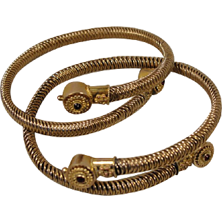 Victorian Coil Gold-Filled Pair of Wire-Twist Bracelets