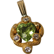 14K Victorian Art Nouveau Peridot Heart Diamond Conversion Pendant