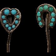 2 Georgian Victorian Silver Turquoise Stick Pins Heart Horseshoe