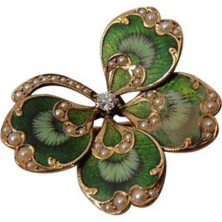 14K Art Nouveau Enamel Diamond Pearl 4 Leaf Clover Pin Pendant Krementz