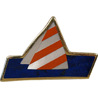 18K Tiffany & Co Inlaid Lapis Jasper Pearl Sailboat Pin Pendant