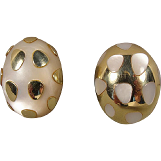 18K Tiffany & Co Positive Negative MOP Earrings Vintage
