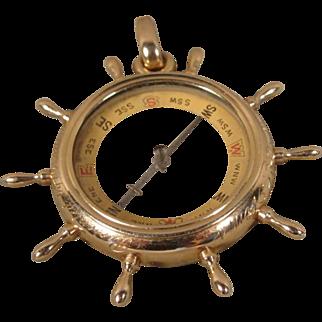 Antique 14K Ships Wheel Compass Magnifier Charm Pendant Fob Historic 1911