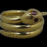 18K Vintage Ruby Eye Snake Coil Ring