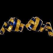 18K Blue Yellow Enamel Knot Vintage Cufflinks Exceptional