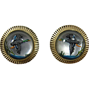 14K Vintage Reverse Essex Crystal Mallard Geese Cufflinks