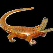 Rare Vintage Gucci Sterling Enamel Alligator Pin