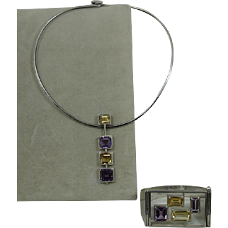 Sterling Modernist Amethyst Citrine Bracelet Torque Necklace Israel