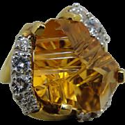 18K MUNSTEINER Citrine Diamond Modernist Ring