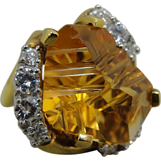 18K MUNSTEINER Citrine Diamond Modernist Ring