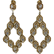 14K Vintage 70s Harlequin Diamond Dangling Earrings