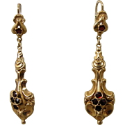 14K Victorian Style Garnet Dangling Earrings