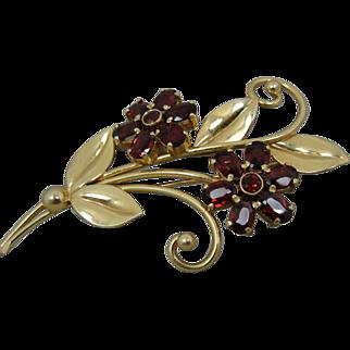 14K Retro Garnet Wordley Allsopp & Bliss Flower Pin Brooch