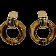 18K Tiffany & Company Tiger Eye Bamboo Earrings  Vintage