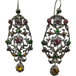 Victorian Sterling Colored and White Paste Dangling Earrings