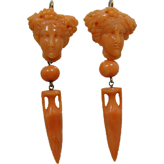 14K Victorian Carved Coral Face Urn Earrings