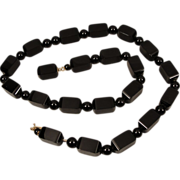 Victorian 14K Onyx Bead Necklace