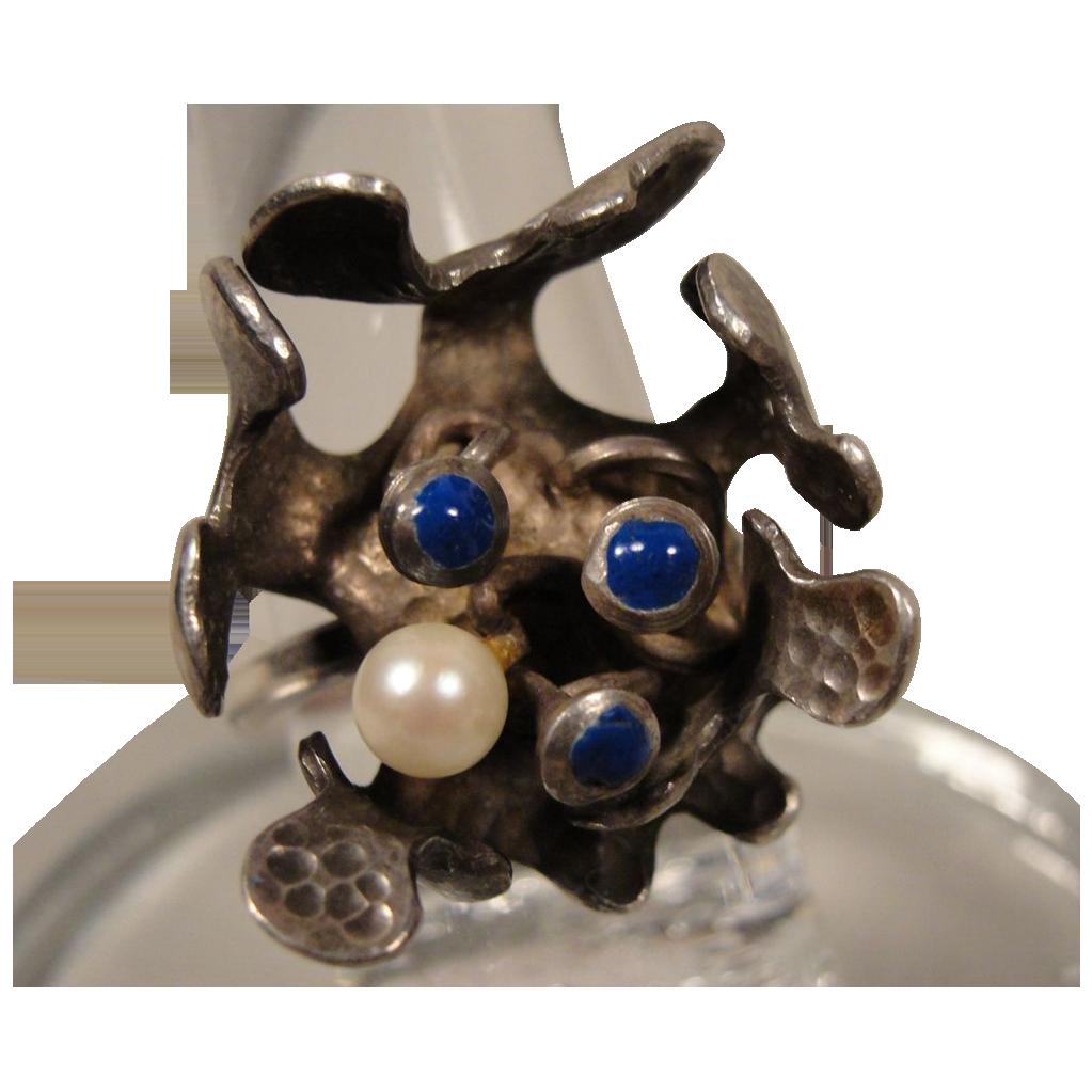 Studio Artisan handmade Sterling Enamel Modernist Ring