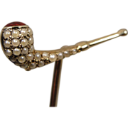 14K Antique Pearl Enamel Pipe Stick Pin