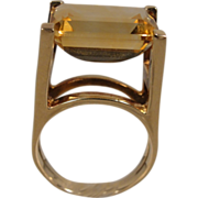 Modernist 14K Citrine Ring Sculptural Conversation Piece