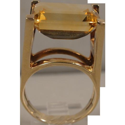 Modernist 14K Citrine Ring Sculptural Conversation Piece