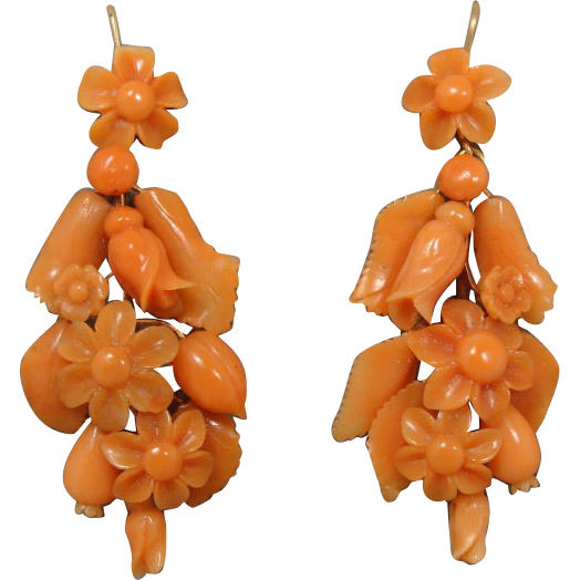 Victorian 14K Carved Coral Day Night Earrings