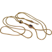 Georgian Victorian 14K Watch Slide Chain Long