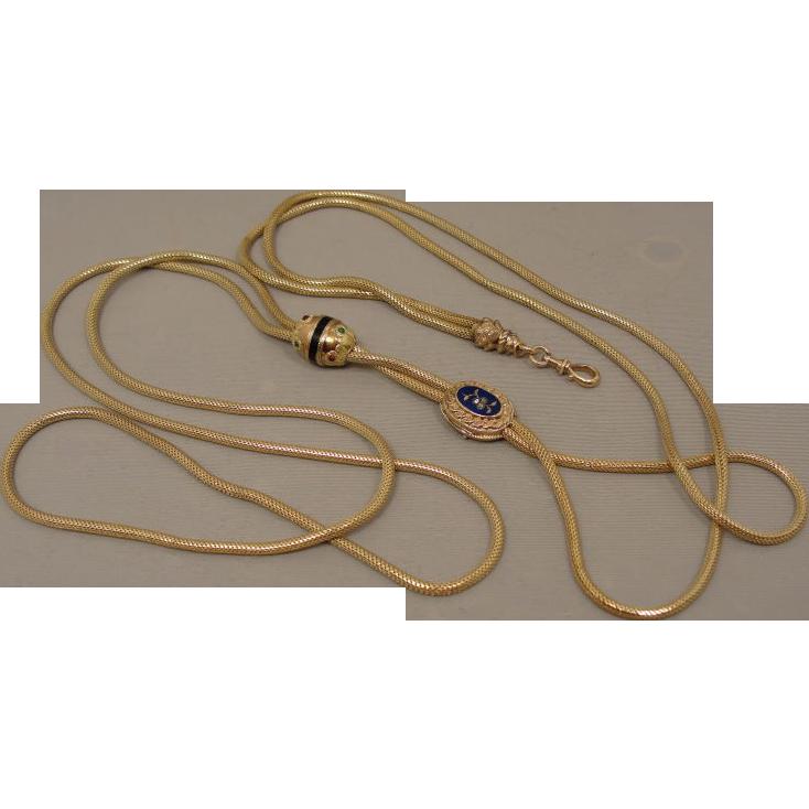 Georgian Victorian 14K Watch Slide Chain Long