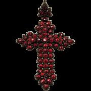 Victorian Bohemian Garnet Cross Pendant Exceptional
