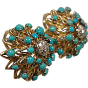 Vintage 18K Persian Turquoise Diamond Italy Earrings