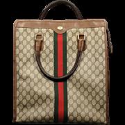Vintage GUCCI Logo Canvas leather Tote Bag Purse