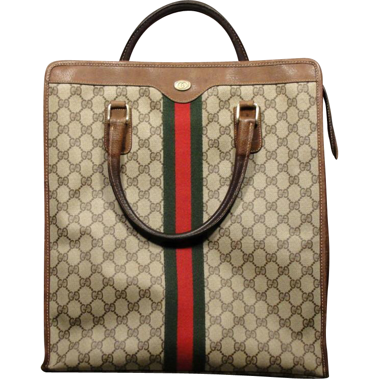 Vintage GUCCI Logo Canvas leather Tote Bag Purse SOLD on ...