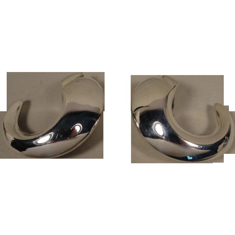 Vintage PATRICIA VON MUSULIN Sterling Silver HUGE Modernist Hoop Earrings