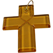 Vintage LARGE 18K Baccarat Cross Pendant France