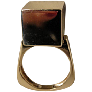 14K Modernist Cube Sculptural Ring