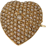 Victorian Edwardian 14K Pearl Heart Pendant Watch Pin