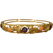 14K Coral Amethyst Art Nouveau Bangle Bracelet