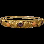 14K Coral Amethyst Art Nouveau Bangle Bracelet