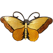 Vintage Hroar Prydz Norway Sterling Enamel Butterfly Pin