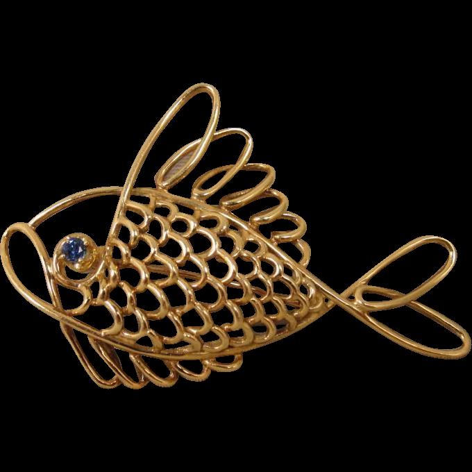 Vintage 14K J. E. Caldwell JEC Fish PIN