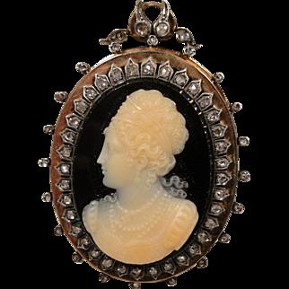18k Victorian French Onyx Sardonyx Rose Diamond Cameo Pin