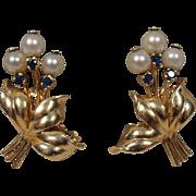 14K Retro Sapphire Pearl Flower Earrings