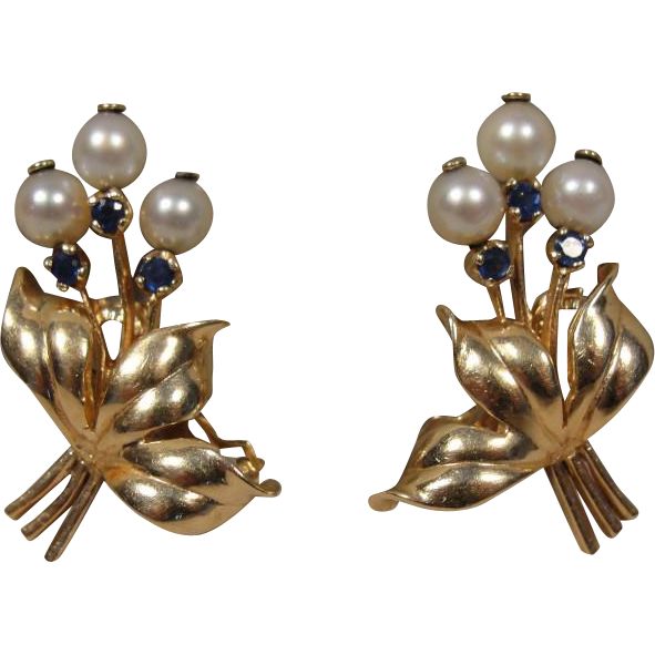 14K Retro Sapphire Pearl Flower Earrings