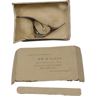 Ed Wiener Sterling Silver Pearl Pin with Box