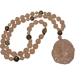 Vintage Chinese Pink Quartz  Cloisonne Beads  Carved Pendant Necklace