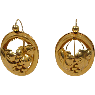 Large 18K VintageVictorian-Style Earrings Back to Front Wires