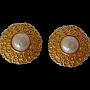 Karl Lagerfeld Gold & Faux Pearl Clip Earrings