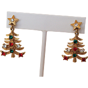 Mylu Christmas Tree Earrings Drop Style Gold-Tone and Rhinestones