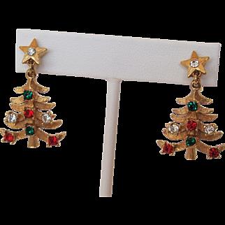 Mylu Christmas Tree Earrings Drop Style Gold-Tone and Rhinestones
