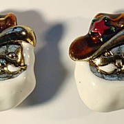 Santa Claus Cowboy Sheriff Earrings by Don-Lin--Yee Haw!